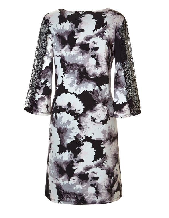 Black Lace Sleeve A-Line Dress, White/Black/Dusty Pink, hi-res