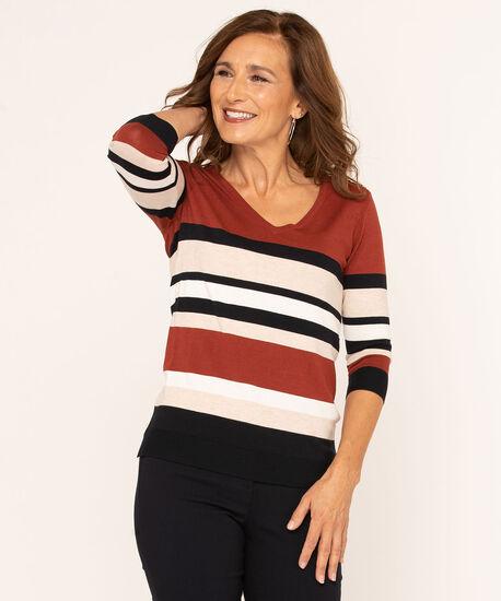 V-Neck Button Shoulder Pullover Sweater, Rust, hi-res