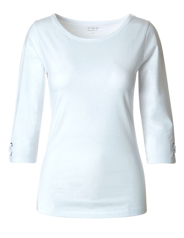 White Grommet Cotton Tee, White, hi-res