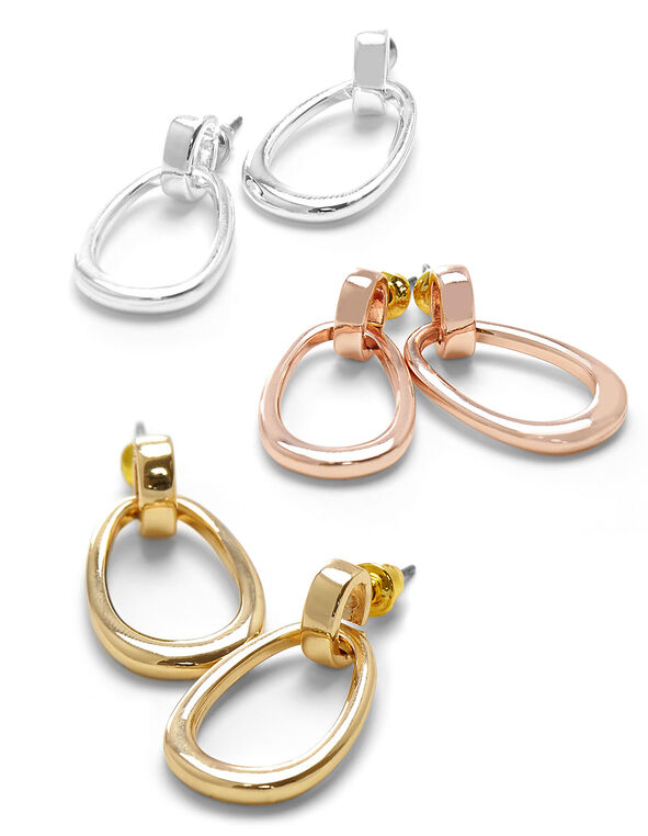 Oval Earring Trio Set, Rose Gold/Gold/Silver, hi-res