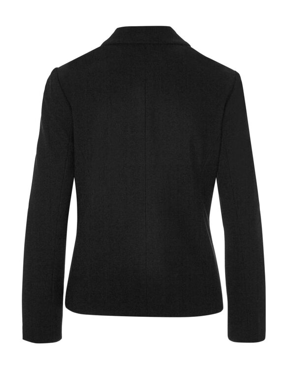 Black Herringbone Patterned Blazer, Black, hi-res