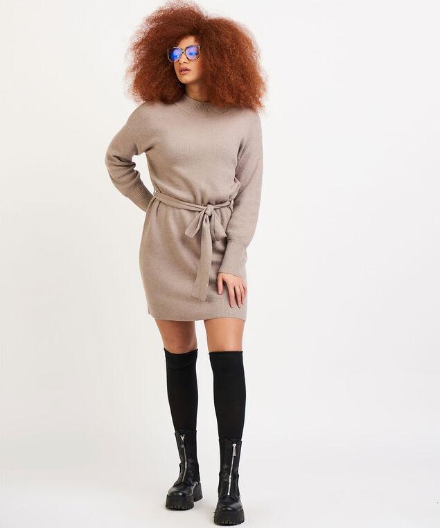 Dex Belted Sweater Dress, Beige Mix