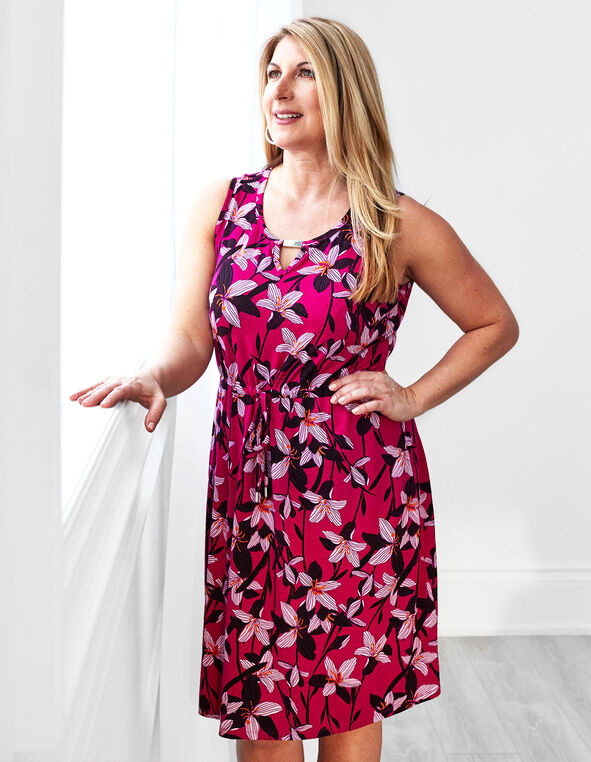 Hot Pink Floral Tie Waist Dress, Hot Pink, hi-res