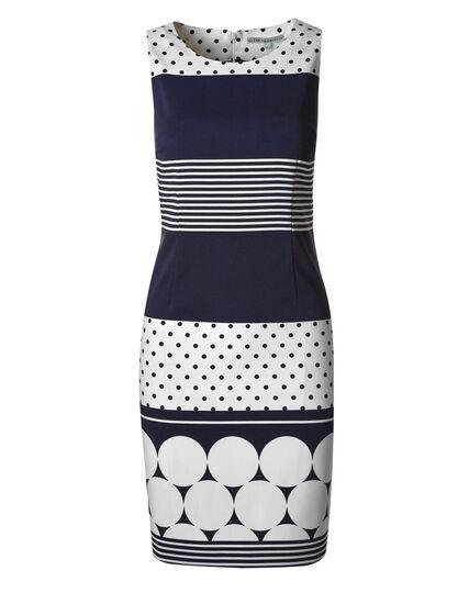 Navy Dotted Sheath Dress, Navy/White, hi-res