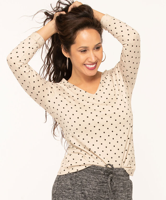 V-Neck Long Sleeve Tee, Oatmeal/Black Dot, hi-res