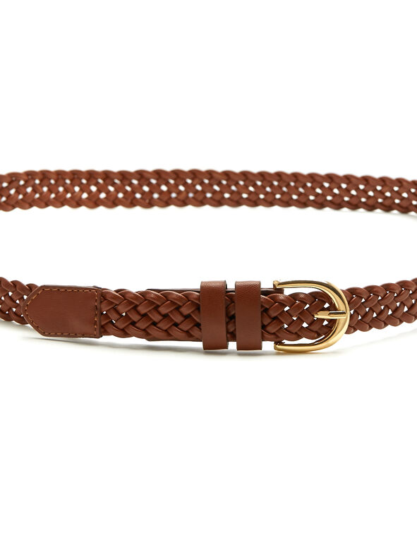 Brown Braided Belt, Brown, hi-res