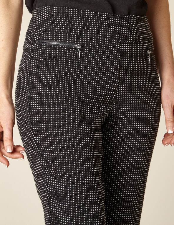 Black Patterned Zip Pull On Slim Pant , Black, hi-res