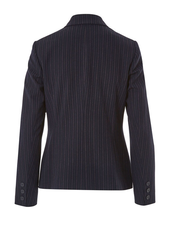 Navy Striped Structured Blazer, Navy, hi-res