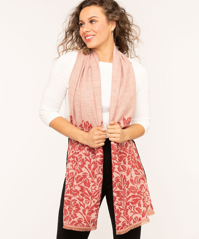 Floral Border Oblong Scarf, Ruby Mix