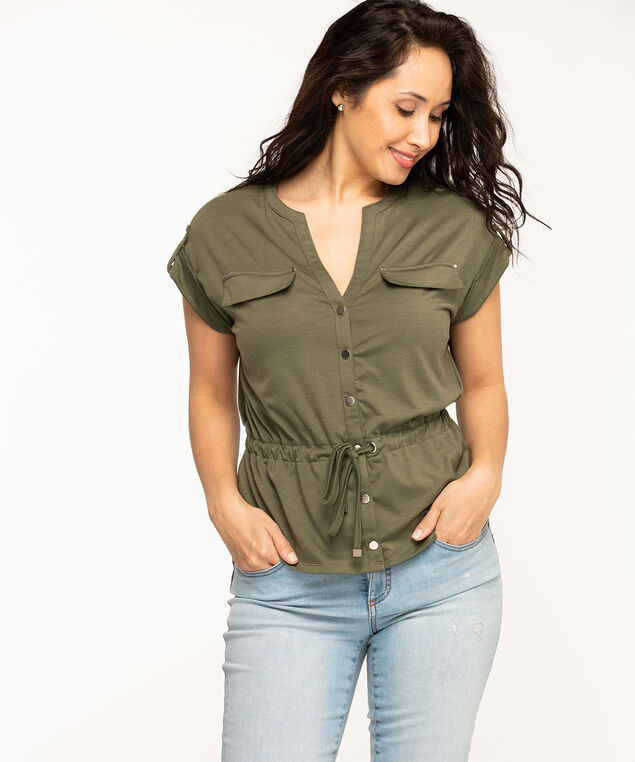 Button Front Utility Top, Olive