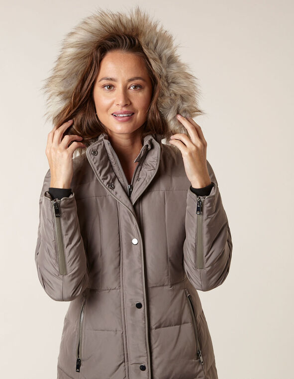 Tan Curved Hem Down Coat, Tan, hi-res