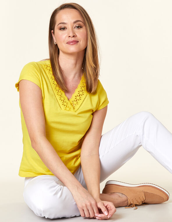 Lace Neck Tee, Yellow/Pineapple, hi-res