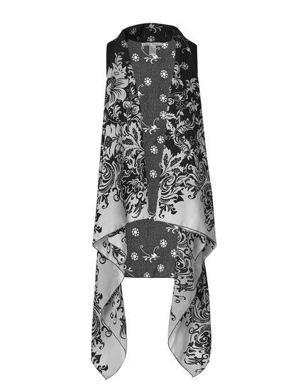 Black & White Floral Kimono Vest, Black/White, hi-res