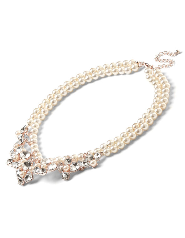 Rose Gold Pearl Necklace, Pearl, hi-res