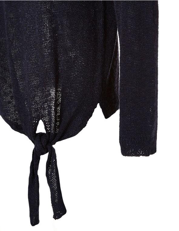 Navy Tie Front Lightweight Pullover, Navy, hi-res