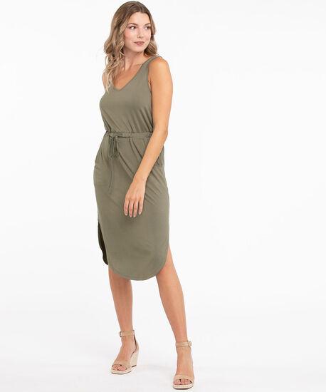 V-Neck Drawstring Pocket Dress, Leaf, hi-res