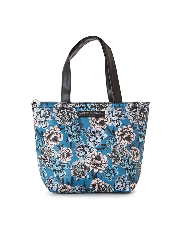 Floral Printed Lunch Tote, Blue, hi-res