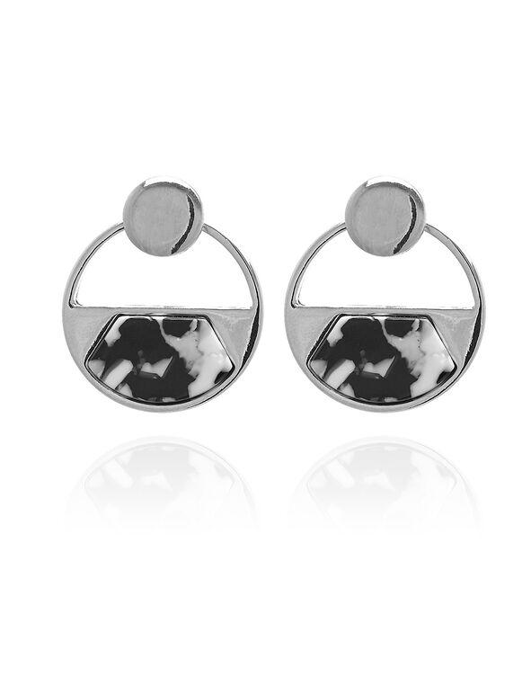 Black Resin Earring, Silver, hi-res
