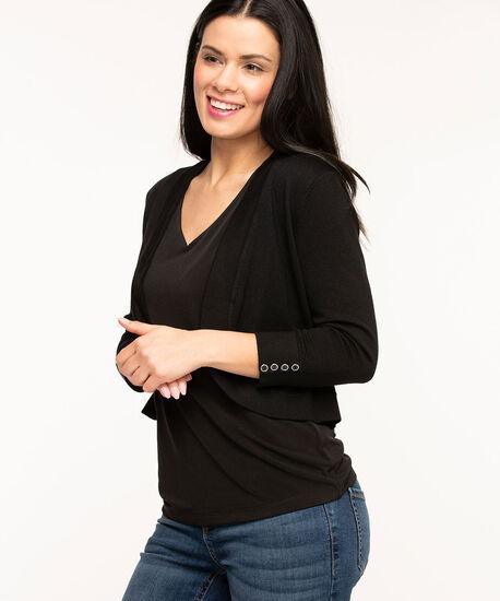 Black Button Shrug Sweater, Black, hi-res