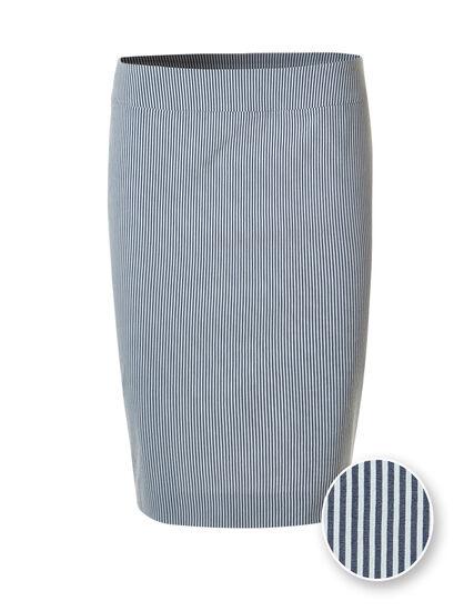 Seersucker Signature Pencil Skirt, Blue/White, hi-res