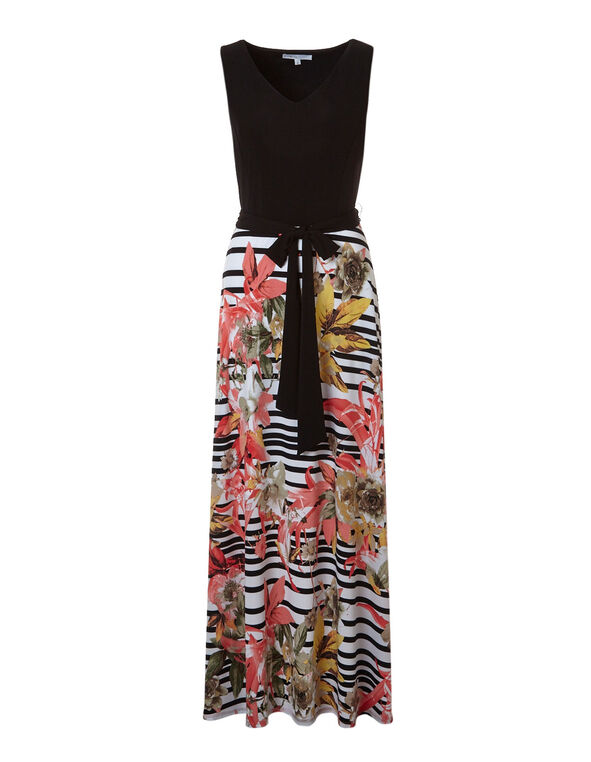 Black Floral Maxi, Black Stripe, hi-res