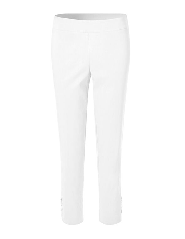 White Lace Up Ankle Pant, White, hi-res