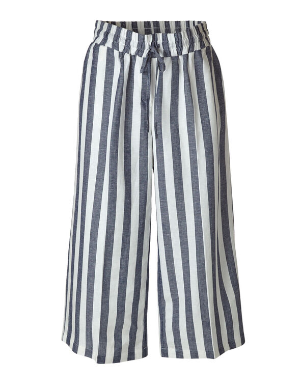 Striped Linen Blend Wide Leg Capri, Navy, hi-res