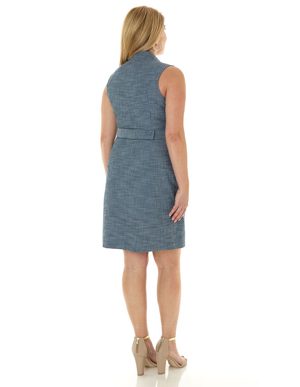 Blue Cargo Zipper Front Dress, Blue, hi-res