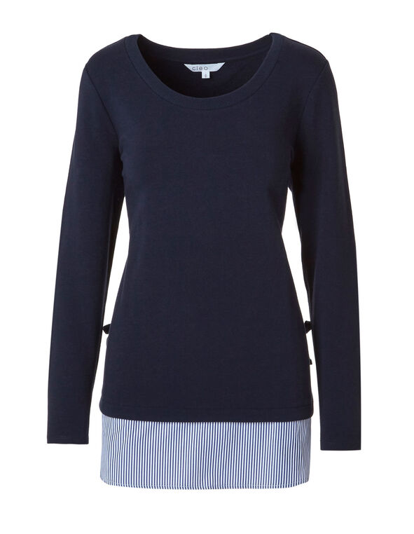 Navy French Terry Striped Hem Top, Navy, hi-res