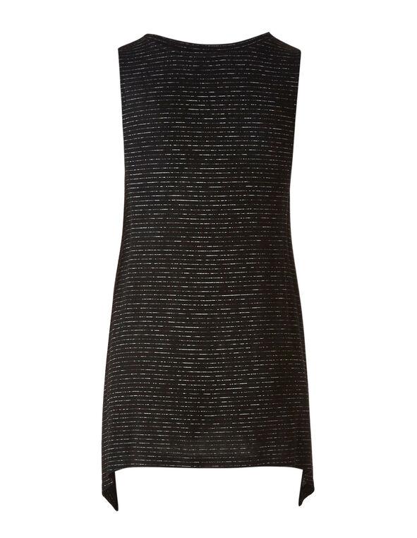 Black Striped Tunic Top, Black, hi-res