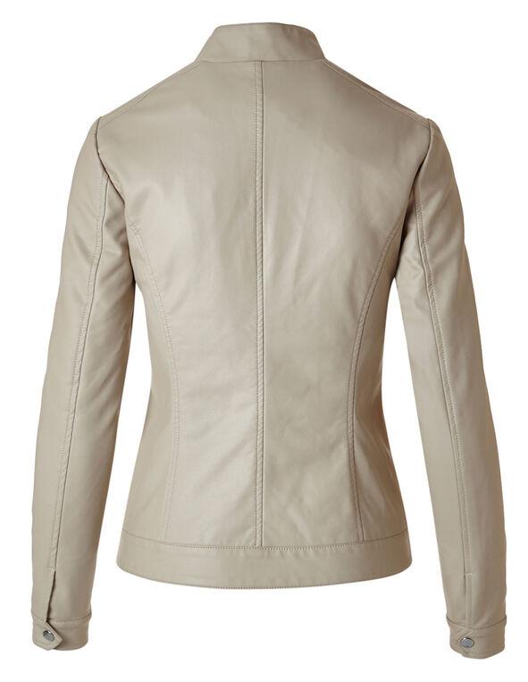 Stone Scuba Faux Leather Stud Jacket, Stone, hi-res
