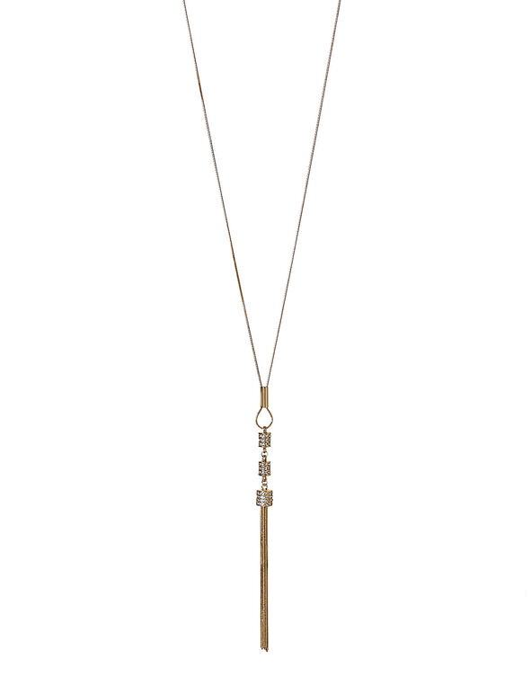 Gold Fireball Tassel Necklace, Gold, hi-res