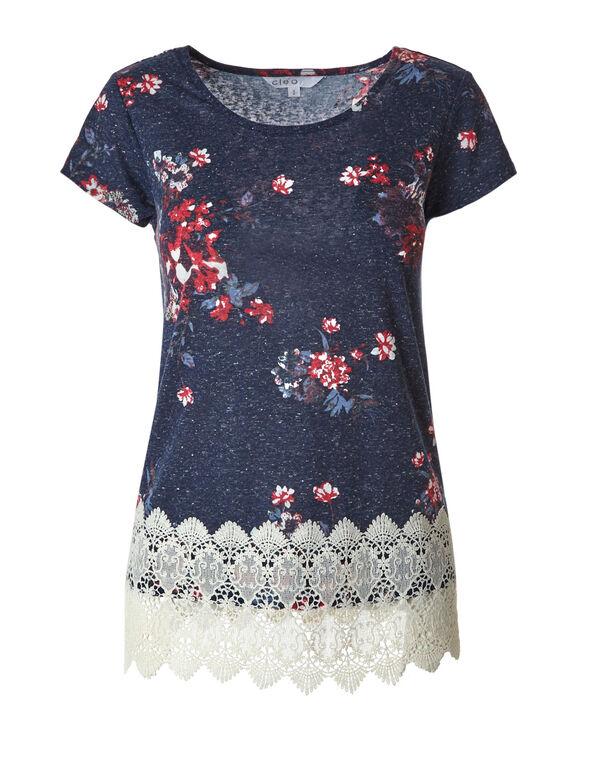 Navy Floral Crochet Hem Top, Navy, hi-res