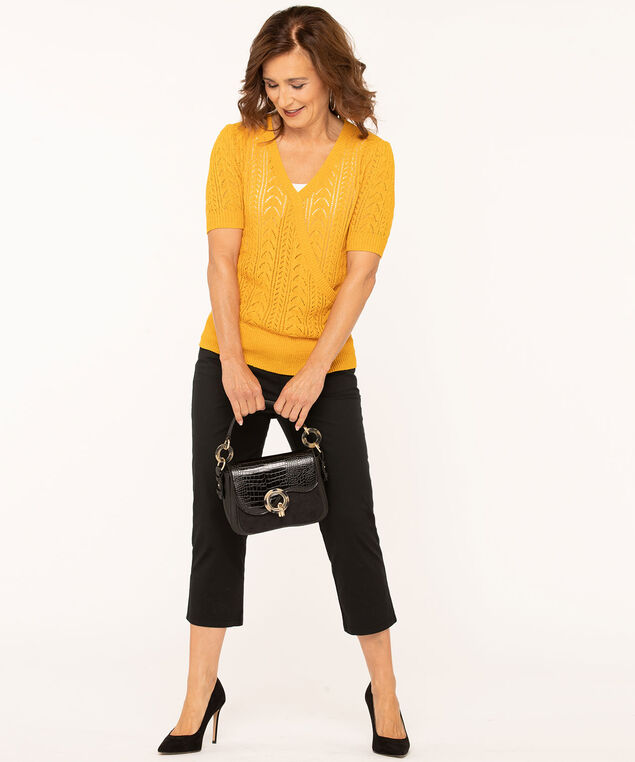Gold Wrap Front Pointelle Pullover, Gold, hi-res
