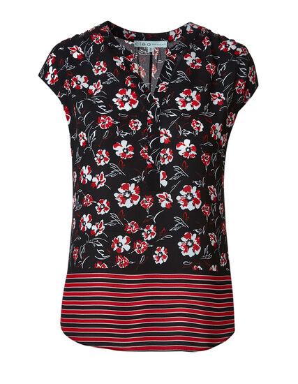 Black Floral Blouse, Black/Red, hi-res