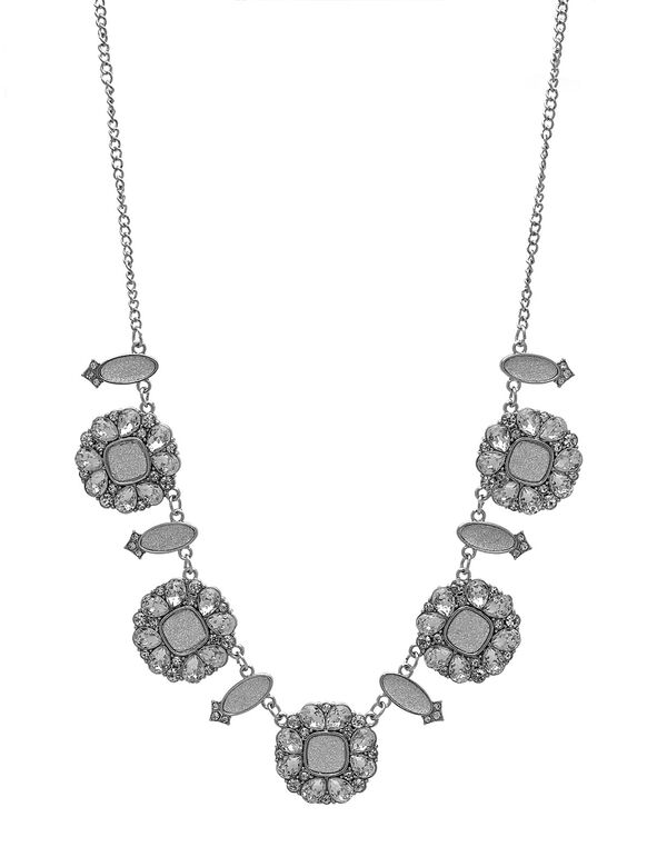 Silver Glitter Statement Necklace, Silver, hi-res