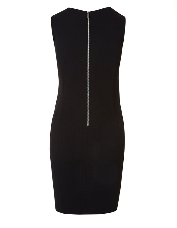 Black Jaquard Sheath Dress, Black, hi-res