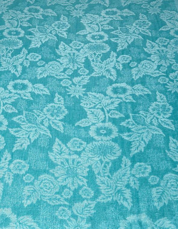 Turquoise Floral Lurex Pashmina Scarf, Turquoise, hi-res