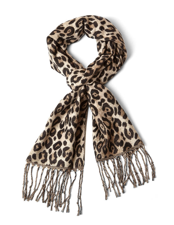 Animal Printed Super Soft Woven Scarf, Brown, hi-res