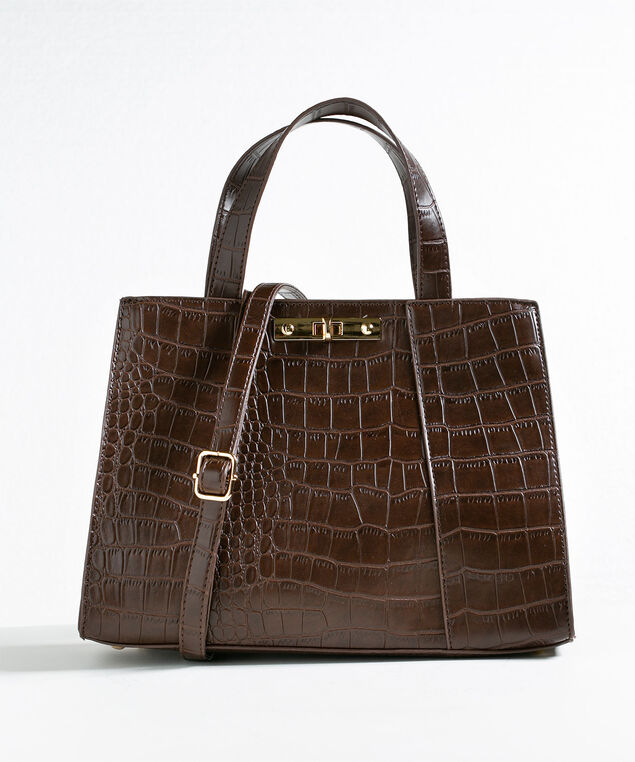 Brown Structured Croco Handbag, Md Brown, hi-res