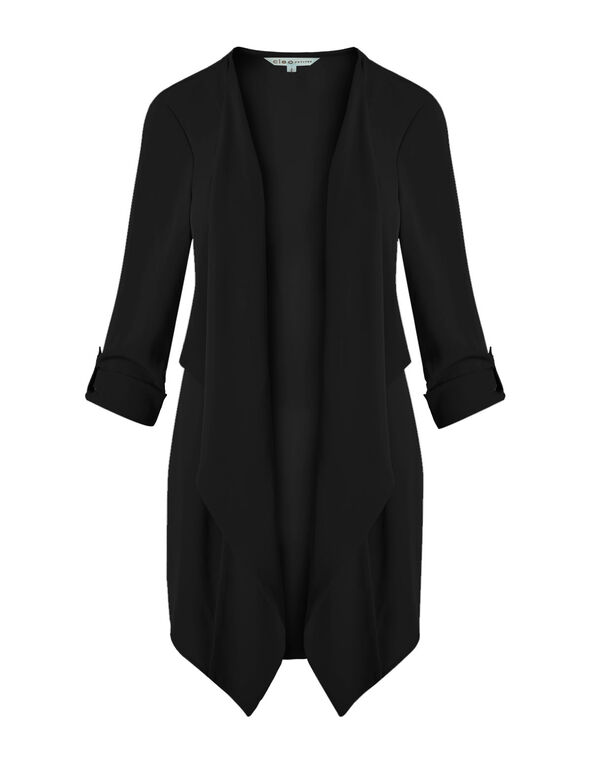 Black Draped Roll Sleeve Blazer, Black, hi-res