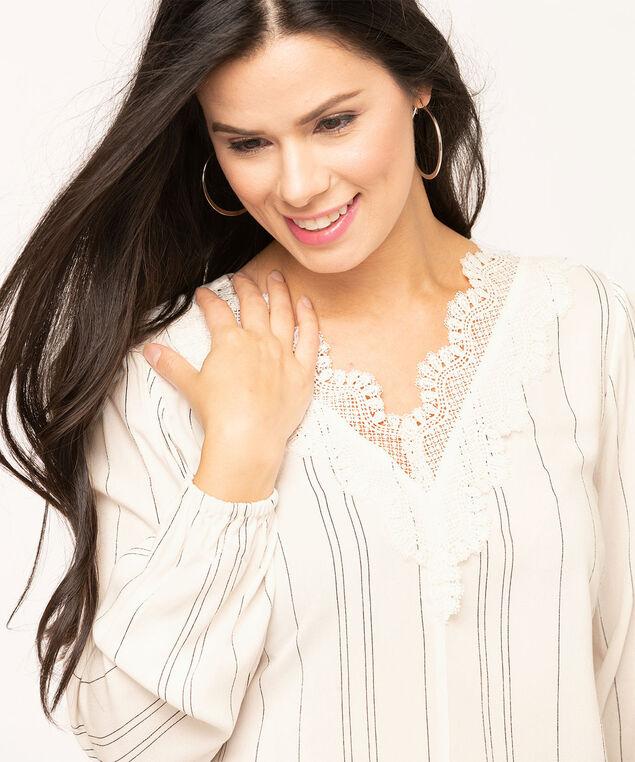 Lace V-Neck Long Sleeve Blouse, Black/Ivory, hi-res