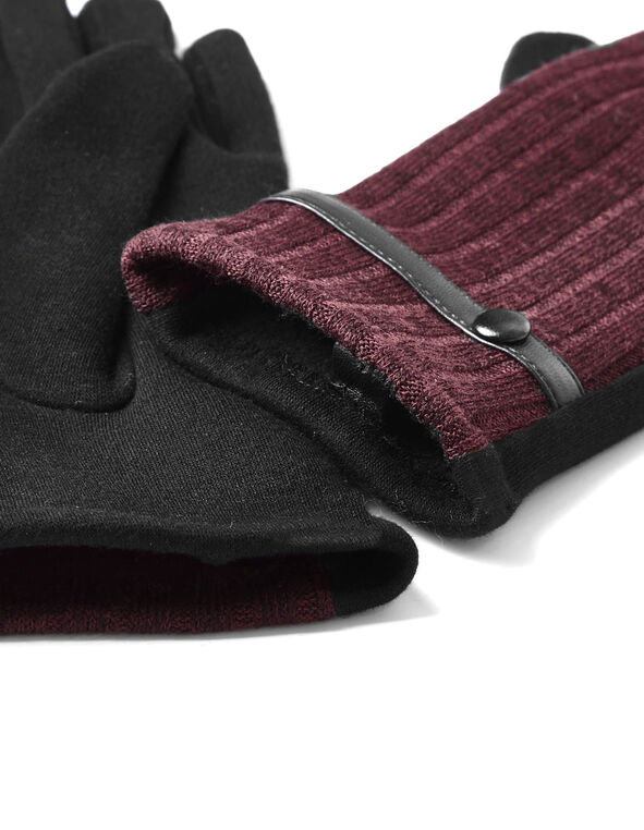 Burgundy Knit Text Gloves, Burgundy, hi-res