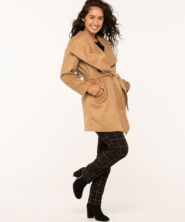 Camel Wrap Coat, Camel, hi-res