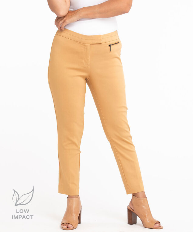 Low Impact Curvy Microtwill Ankle Pant, Latte