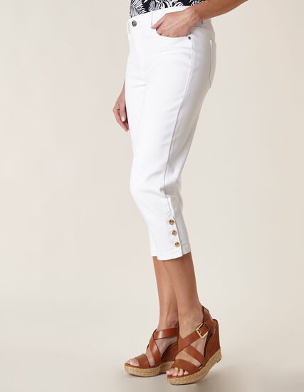 White Denim Capri, White, hi-res