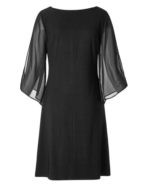 Black Chiffon Sleeve Dress, Black, hi-res