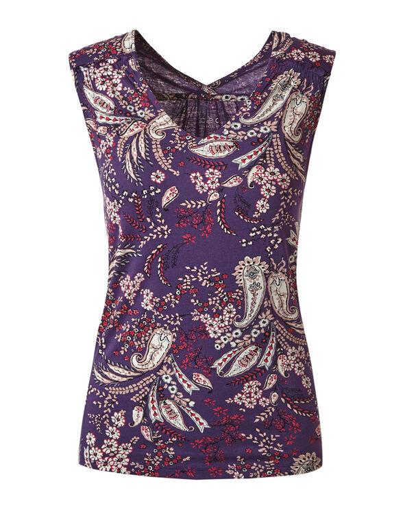 Purple Paisley Sleeveless Tee, Dark Purple, hi-res