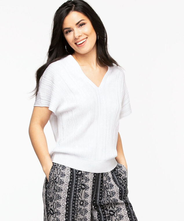 Ribbed Dolman Sleeve Pullover Sweater, White