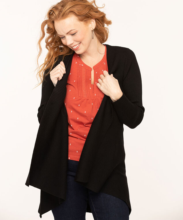 Asymmetrical Ribbed Open Cardigan, Black, hi-res